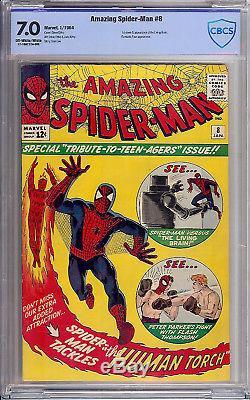 Amazing Spider-Man #8 CBCS 7.0 1964 1st Living Brain! Like CGC! G9 cm