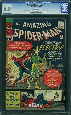 Amazing Spider-Man #9 CGC 6.0 Marvel 1964 WHITE! 1st Electro! D9 121 cm