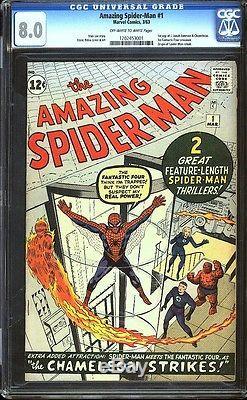 Amazing Spider-man 1 CGC 8.0 OWithW Silver Age Key Marvel Comic IGKC L@@K
