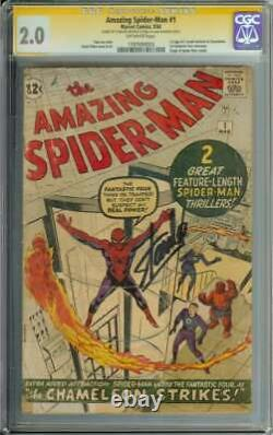 Amazing Spider-man #1 Cgc 2.0 Ow Pages // Signed By Stan Lee 1963