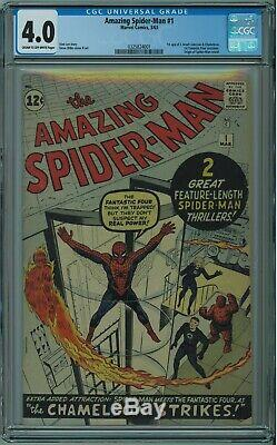 Amazing Spider-man #1 Cgc 4.0 1st J Jonah Jameson & Chameleon Cr/ow Pgs 1963