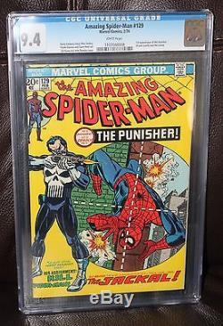 Amazing Spider-man #129 CGC 9.4 White Pages 1st Punisher Netifix Movie