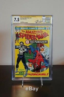 Amazing Spider-man #129 Cgc 7.5 Ss Signed By Stan Lee 1st Punisher Key