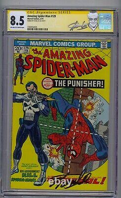 Amazing Spider-man #129 Cgc 8.5 Ss Signed Stan Lee 1st Punisher
