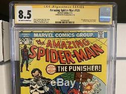 Amazing Spider-man 129 Cgc Ss 8.5 First Punisher Signed By Editor Roy Thomas