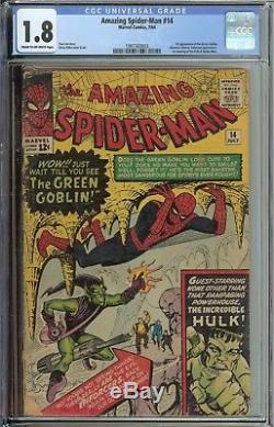Amazing Spider-man #14 Cgc 1.8 1st App Green Goblin 1st Meeting Hulk Spider-man