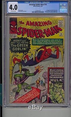 Amazing Spider-man #14 Cgc 4.0 1st App Green Goblin 1st Hulk Meets Spiderman