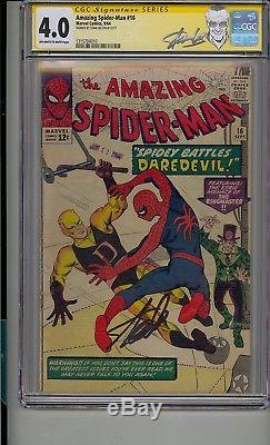 Amazing Spider-man #16 Cgc 4.0 Ss Signed Stan Lee 1st Daredevil Crossover