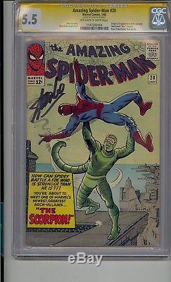 Amazing Spider-man #20 Cgc 5.5 Ss Signed Stan Lee 1st App Scorpion