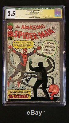 Amazing Spider-man #3 Cgc 3.5 Ss Signed Stan Lee 1st Doctor Octopus