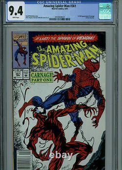 Amazing Spider-man #361 CGC 9.4 NM Marvel Comics 1st Carnage Newstand B1