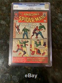 Amazing Spider-man #4 Cgc 3.5 Oww Marvel Comics Origin & 1st Appearance Sandman