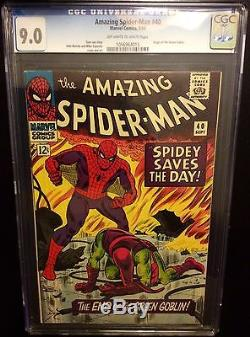Amazing Spider-man # 40 cgc 9.0,1st print Stan lee, Romita 39, Origin Arc Goblin