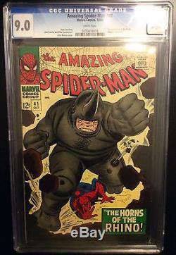 Amazing Spider-man # 41 cgc 9.0,1st print Stan lee, Romita Origin of Rhino
