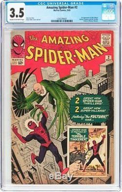Amazing Spiderman #2 CGC 3.5-3rd Appearance-1st Vulture &Tinkerer-cgc 1293299001