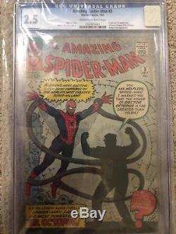 Amazing Spiderman # 3 CGC 2.5 Universal Grade (unrestored)