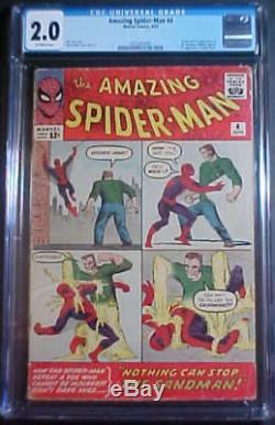 CGC 2.0 THE AMAZING SPIDERMAN #4! 1st APPEARANCE THE SANDMAN! 1963 MARVEL COMICS