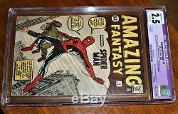 Marvel 1962 Amazing Fantasy #15 Spider-Man CGC Restored 2.5 edges trimmed