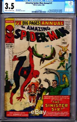 Marvel! Amazing Spider-Man Annual #1! CGC 3.5! 1st Sinister Six! Great Book