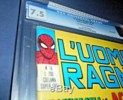 Spider-Man L'Uomo Ragno 18 CGC 7.5 Amazing Fantasy 15 Italian ed. 1970 RARE