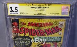THE AMAZING SPIDER-MAN #14 (Green Goblin 1st app, Stan Lee Signed) CGC 3.5 VG