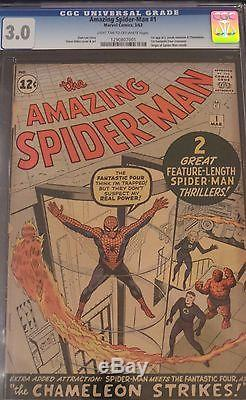 The Amazing Spider-Man #1 CGC 3.0 (Mar 1963, Marvel) 1st Fantastic Four crossove