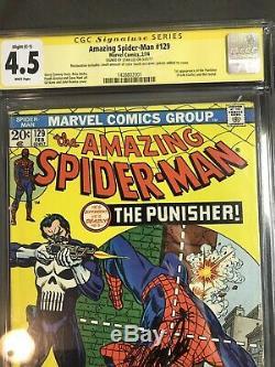 The Amazing Spider-Man #129 (Feb 1974, Marvel) Cgc 4.5 SS Stan Lee 1st Punisher