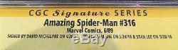 The Amazing Spiderman #316 SS Stan Lee Todd McFarlane David Michelinie CGC 9.8